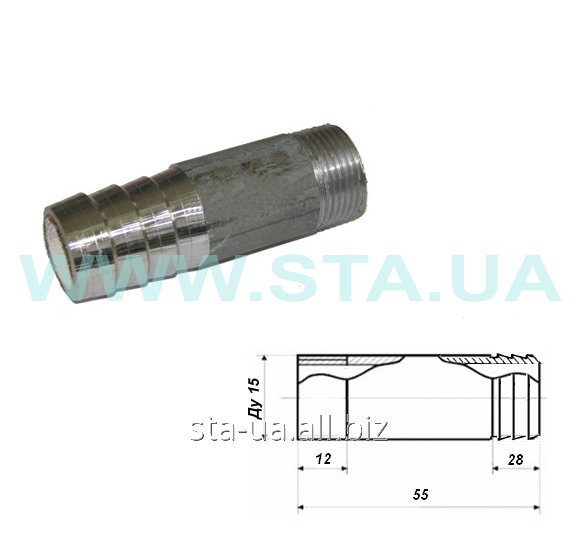 Штуцер стальной для шланга с резьбой 15-50 мм