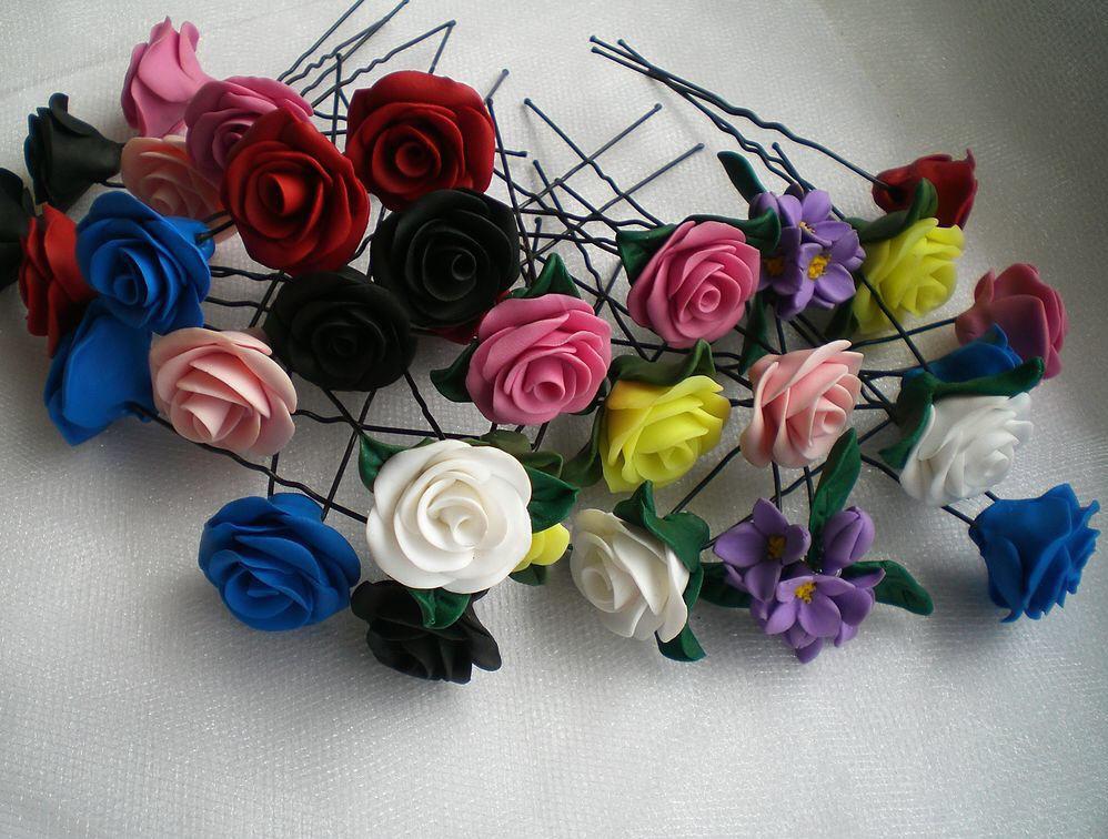 Цветы на заколку своими руками