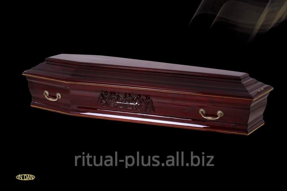 Гроб  VIP, глянцевая вишня, глянцевый орех