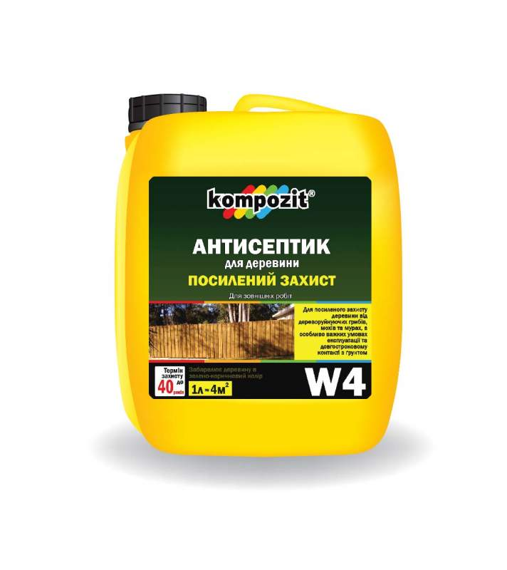 Antiseptic agent for the strengthened protection of W4 Kompozit®. Wood means of protection