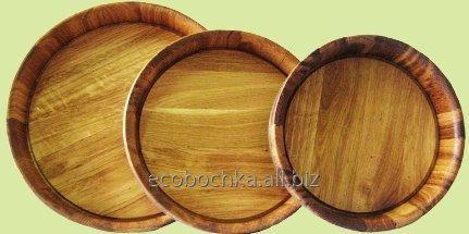 Купить Подносы деревянные D=270 мм, 350 мм., 450 мм. Тарелка дубовая, Кадка для замешивания риса