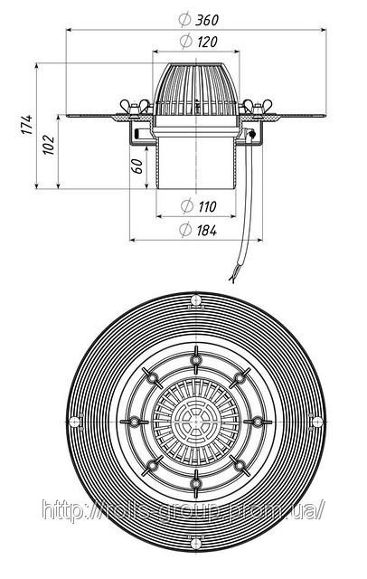 ТП-01.100 Кровельная воронка, с обжимным фланцем из нержавеющей стали, с электрообогревом
