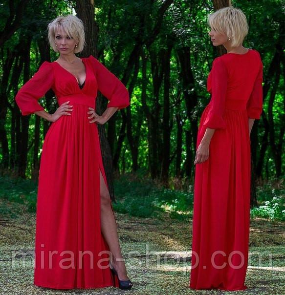 Плаття в підлогу Дженифер Лопес червоне рукава шифон купити в Одеса eec317ea78fbb