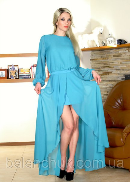3a5d76ff1ee Платье в пол голубое с рукавом Платья шифоновые купить в Одессе