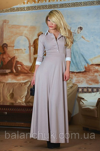 Купить Платье в пол бежевое с белым воротником