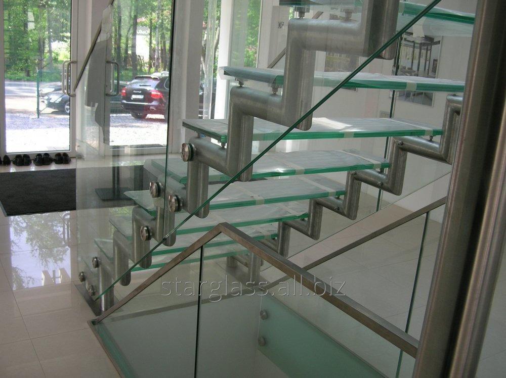 Лестницы, ограждения из стекла