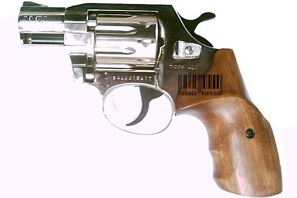 Пистолет пневматический, Револьвер ALFA 420 (никель, дерево)