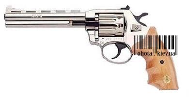 Пистолет пневматический, Револьвер ALFA 440 (никель, дерево)