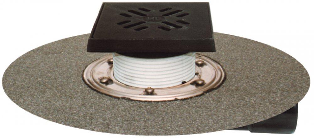 HL81GН трап для террас и балконов с полимербитумным фартуком, с подрамником и решеткой из чугуна,  выпуск вертикальный или горизонтальный DN50/75