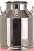 Cans (buckets) for milk, honey and other liquids from a stainless steel