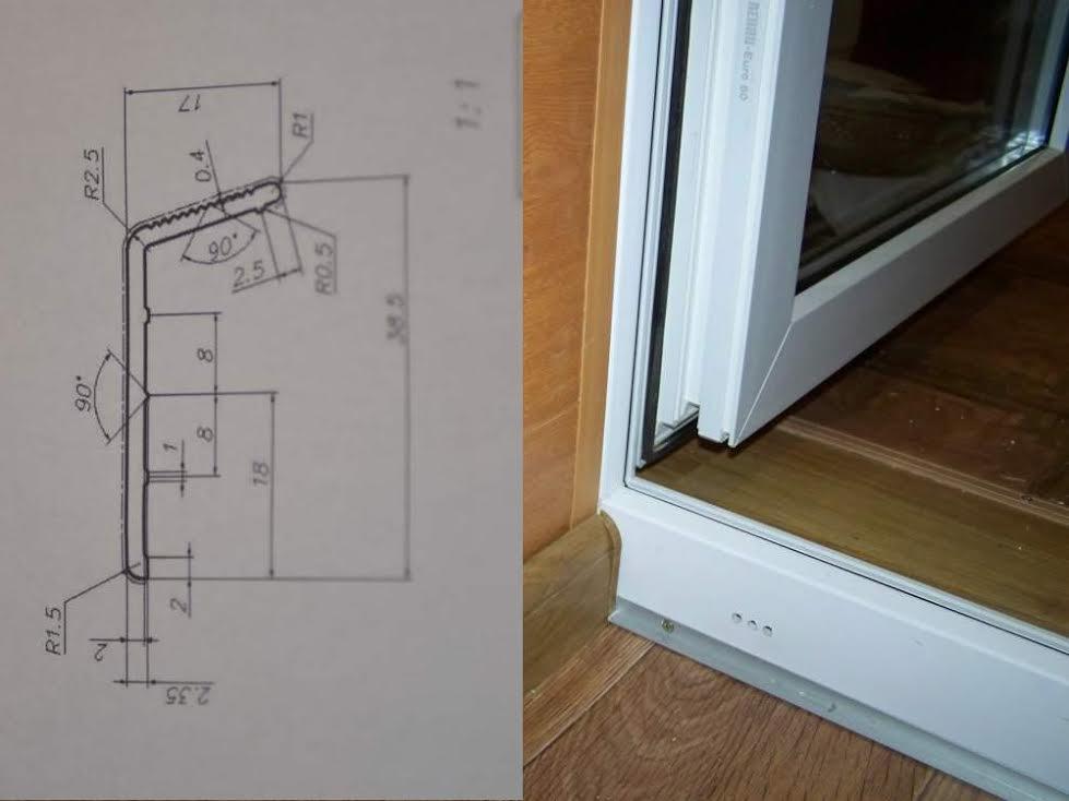 Накладные алюминиевые пороги для дверей пвх от производителя.