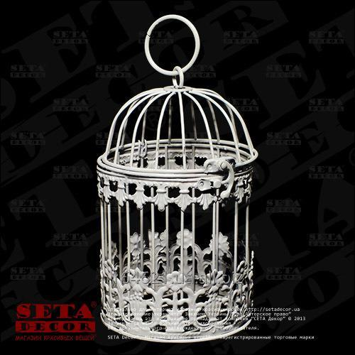 Купить Белая декоративная металлическая маленькая клетка h=18 см, d=11 см.