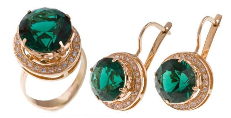Купить Атрикул 781, Кольцо + Серьги, Золото 585 пробы, вставка: кварц