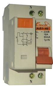 Купить Дифференциальный автоматический выключатель АД 1-40 компактное электромеханическое устройство двухполюсного исполнения, которое несёт в себе функции автоматического выключателя и дифференциального реле (УЗО)