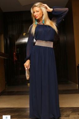0c34e6533d5 Платье темно-синее шифоновое в пол на резинке купить в Днепр