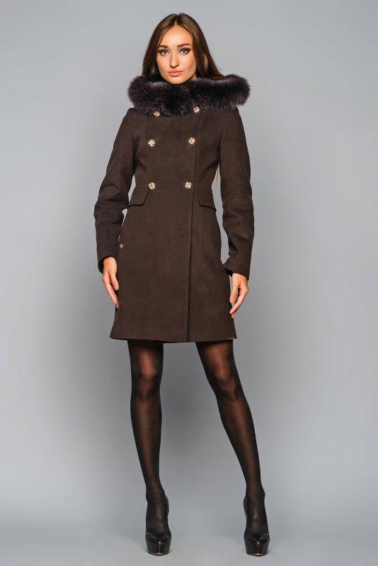 Пальто кашемірове жіноче з каптуром