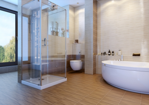 Buy Tile for bathing Bamboo brown