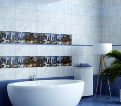 Buy Tile for bathing City blue