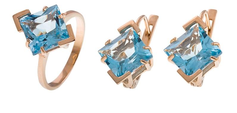 Купить Артикул 646 Серьги + кольцо золото Au 585 пробы, вставка: топаз