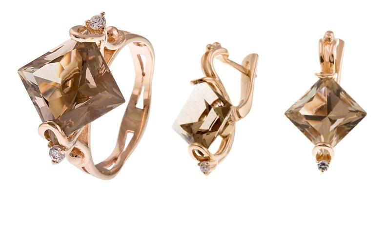 Купить Артикул 663 Серьги + кольцо золото Au 585 пробы, вставка: раухтопаз