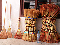 Sorghum broom in assortment (euro, luxury, with a shank)