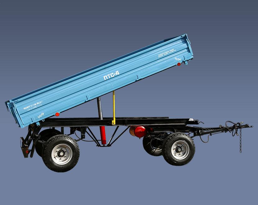 Купить Прицеп тракторный ПТС-4 грузоподъемностью 4 тн для перевозки различных грузов. Небольшая погрузочная высота, система закрывания и открывания бортов удобна в использовании, , пр-во Ровносельмаш, Украина