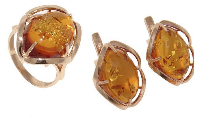 Купити Серги + кільце із золото 585° проби, вставка: бурштин