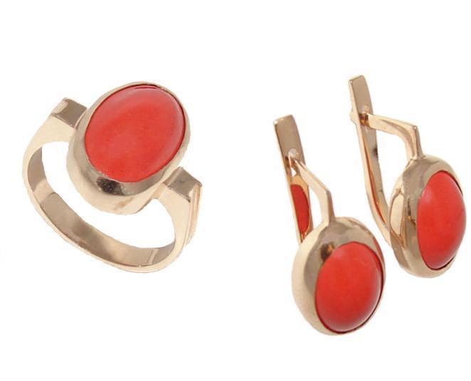 Купить Артикул 409 Серьги + кольцо из золото 585° пробы, вставка: коралл