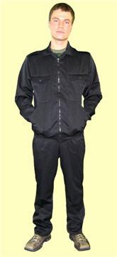 Купить Костюм рабочий. Куртка и брюки. Костюм из однотонной ткани темного цвета ГОСТ 27575-87