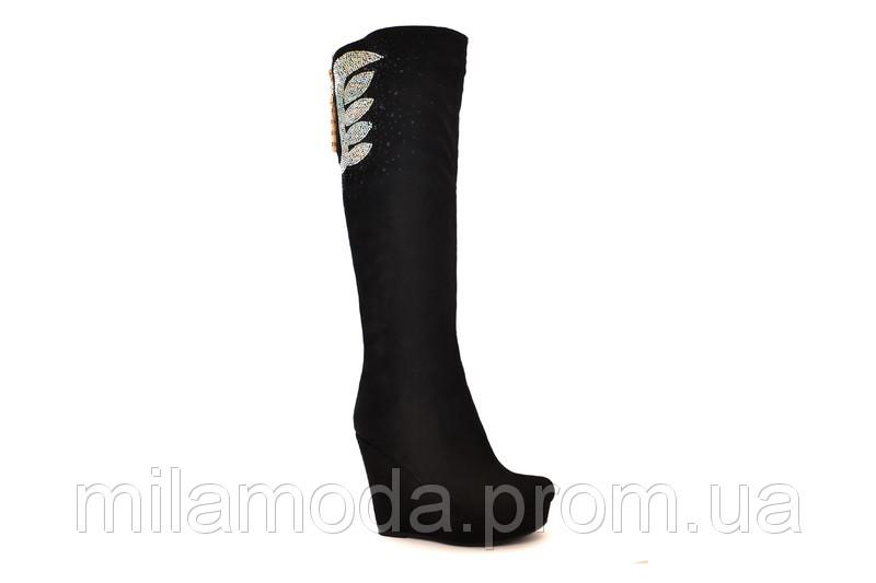 Чоботи замшеві чорні на платформі зі стразами купити в Одеса ec80ed576bb59