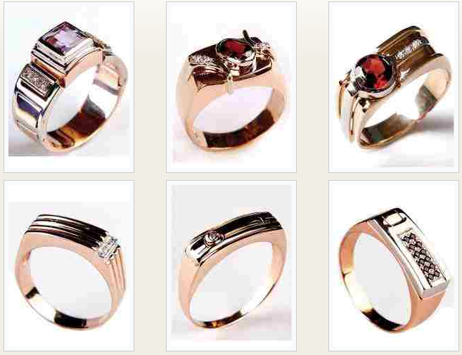 мужские кольца из золота с камнями