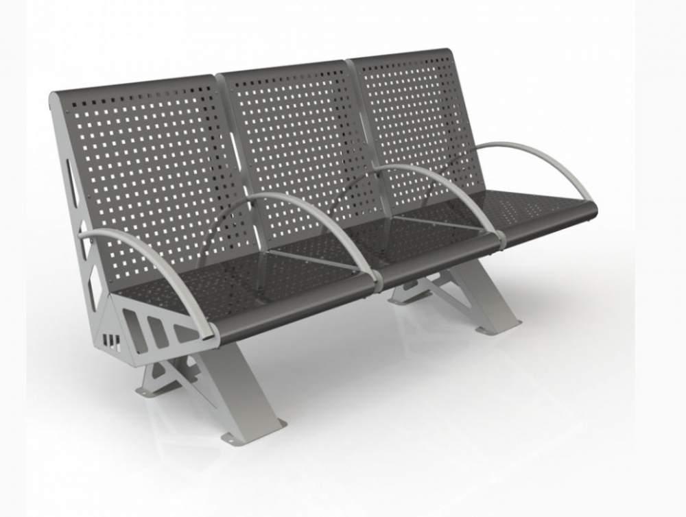 Скамейка металлическая с поручнями