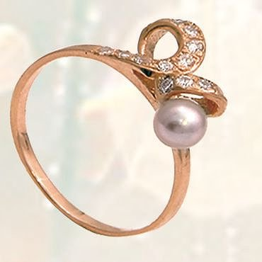 Купити Кільце, золото Au 585 проби із вставками з перлів дорогоцінних і напівкоштовних каменів, Арт.1549 Вага-1,84гр