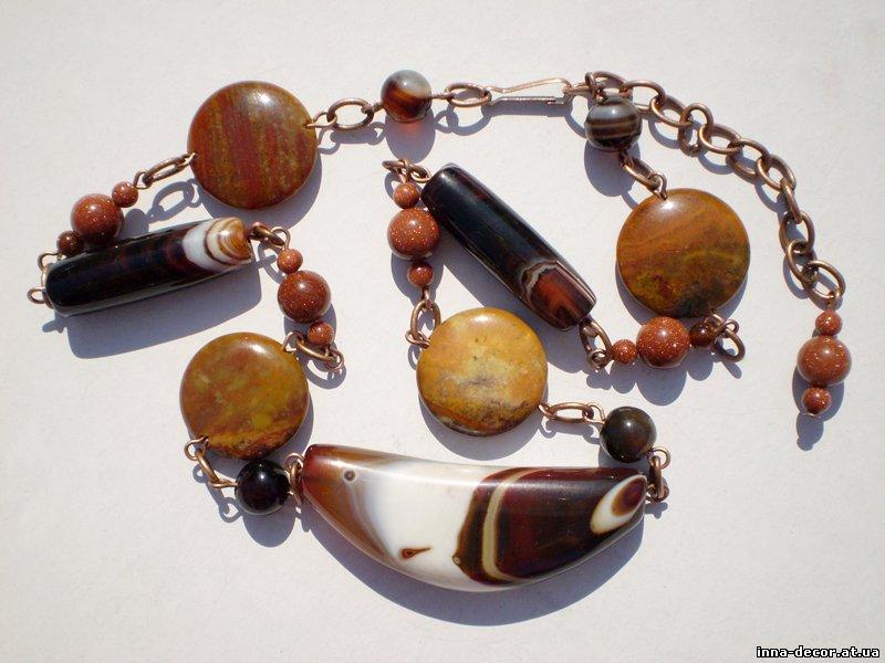 Купить Бижутерия, украшения - колье (бусы) УТРЕННИЙ КОФЕ из натуральных камней - агат, яшма