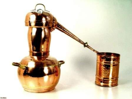 Copper distiller (25 liters) with the Arab helmet, for production of  alcoholic beverages in house conditions