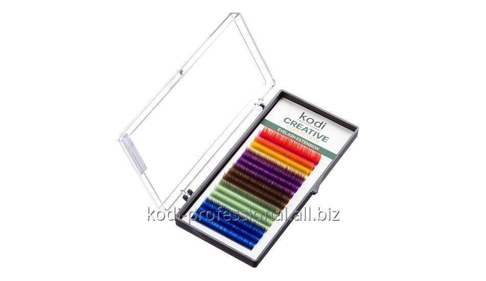 Ресницы цветные C 0.07 (16 рядов: 14 mm), упаковка Creative Collection