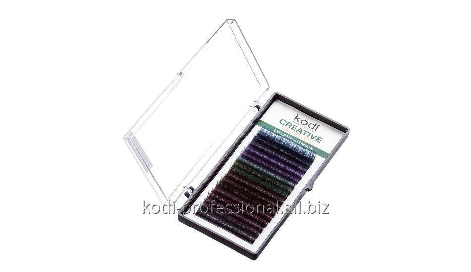 Ресницы черные с цветными кончиками D 0.07 (16 рядов: 10-11 mm),  Creative Collection