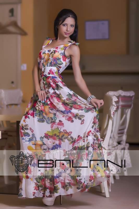 Довге плаття Плаття біле у квіти Код  415 ТР купити в Одеса bb951eb33830a