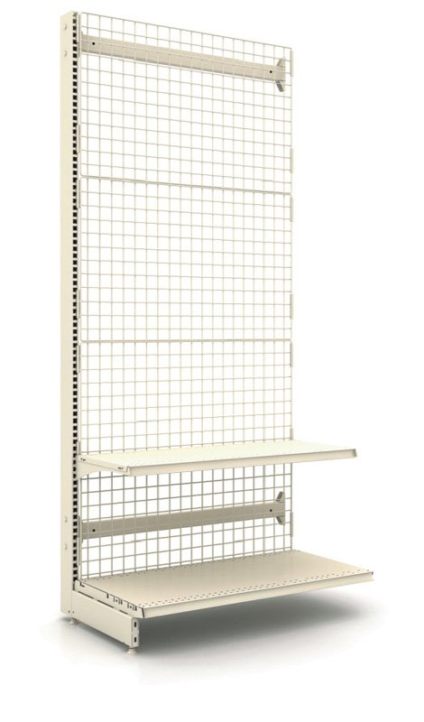 Rack with a wire back wall