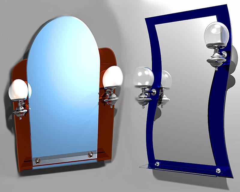 Зеркало с полкой для ванной комнаты
