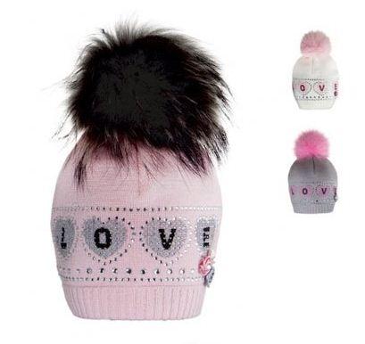 Зимние шапки с меховыми помпонами и стразами Barbaras 50fe5e39bb0ef