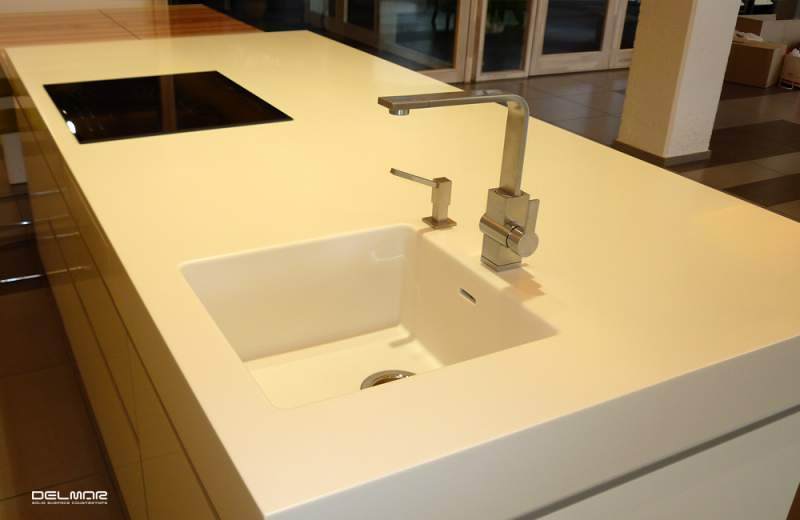 Table Top Stone Kitchen Of An Artificial Acrylic And Quartz Stone A