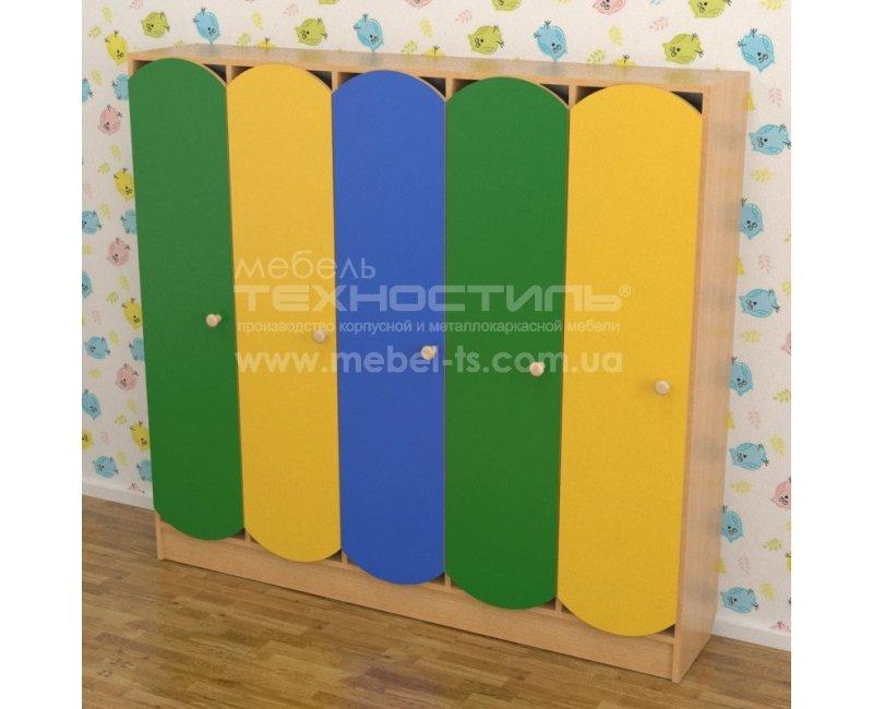 Шкаф для раздевалки в детский сад цветной (5 секций)