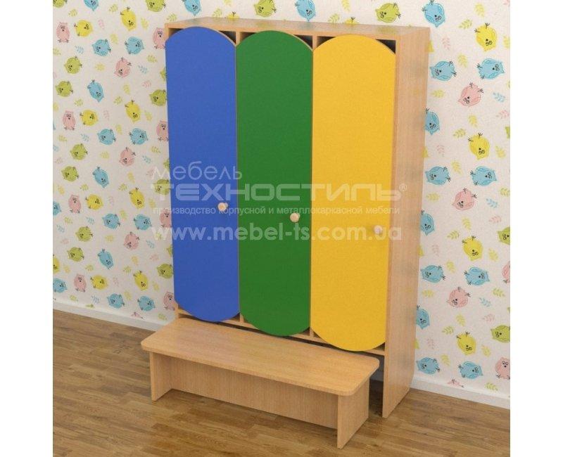 Шкафы для раздевалки секционные цветные