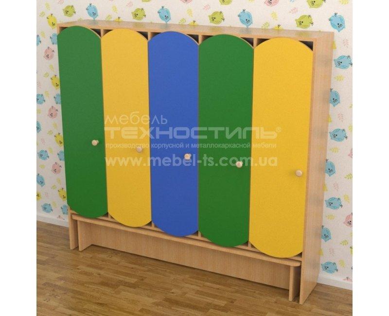 Шкаф секционный для детской раздевалки (5 секции) с лавкой