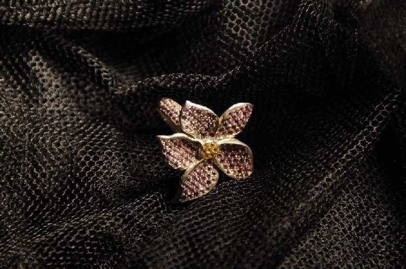 Купить Кольцо ручной работы, золото Au 585° пробы со вставками из драгоценных и полудрагоценных кам