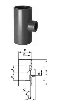 Купить Тройники 90° редукционные, PVC-Uметрические
