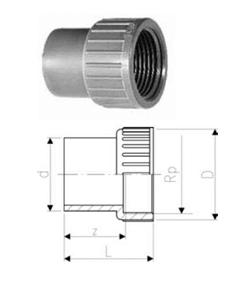 Купить Переходные втулки равнопроходные, PVC-Uметрические -Rp