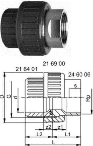 Купить Переходные разьемные муфты, PVC-U / нержавеющая сталь метрические -Rp