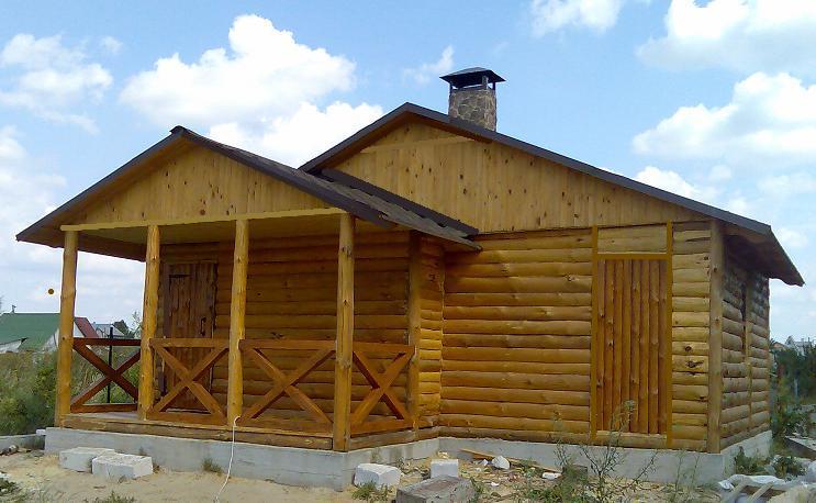 Блокхаус дервянный, сосновый - for frame house, Ukraine. Укладка блок-хауса